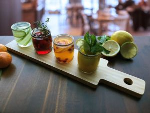 flight of small cocktails