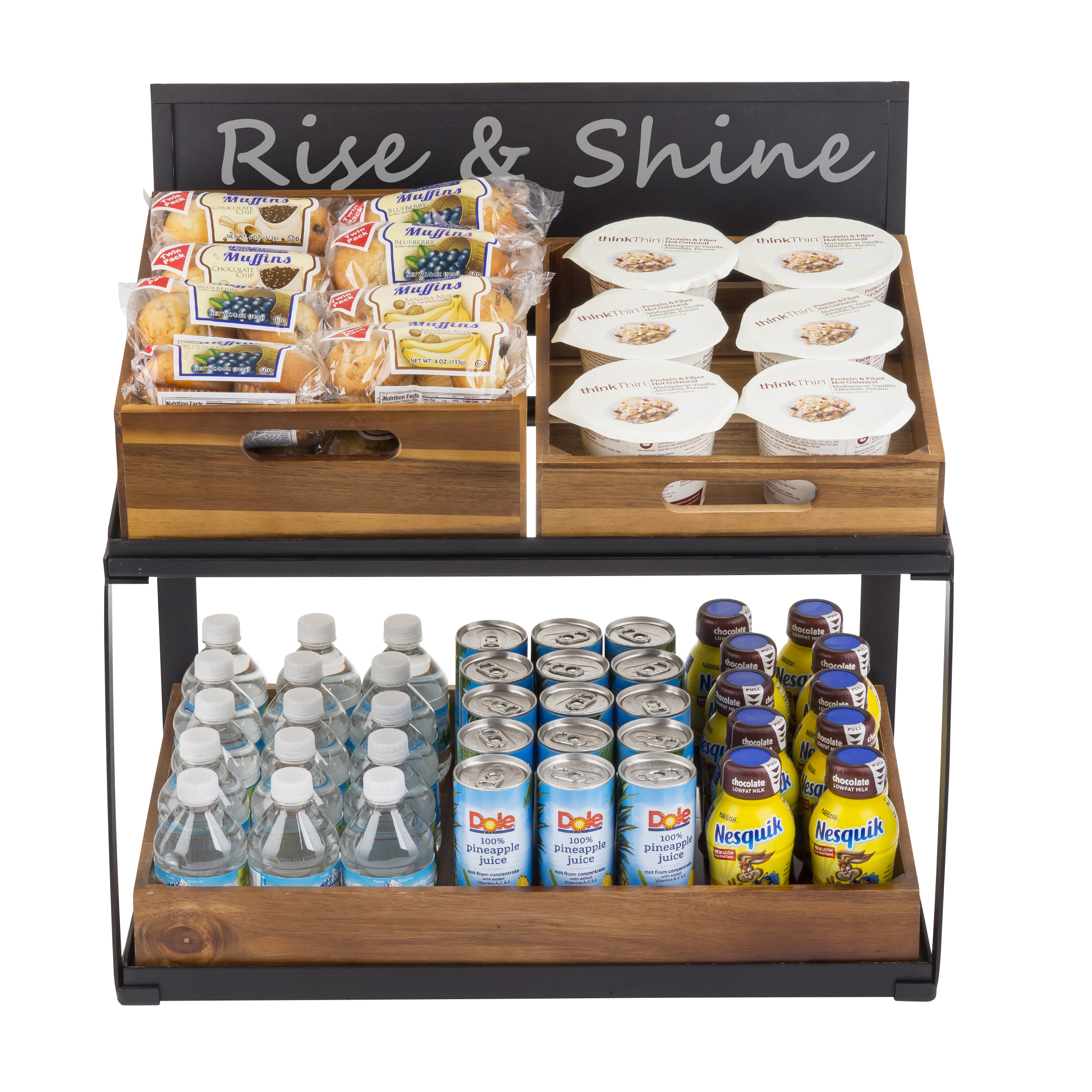 Two-Tiered Riser with breakfast items