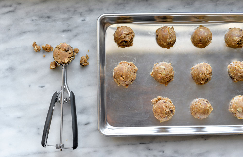 Cookie sheet with dough balls
