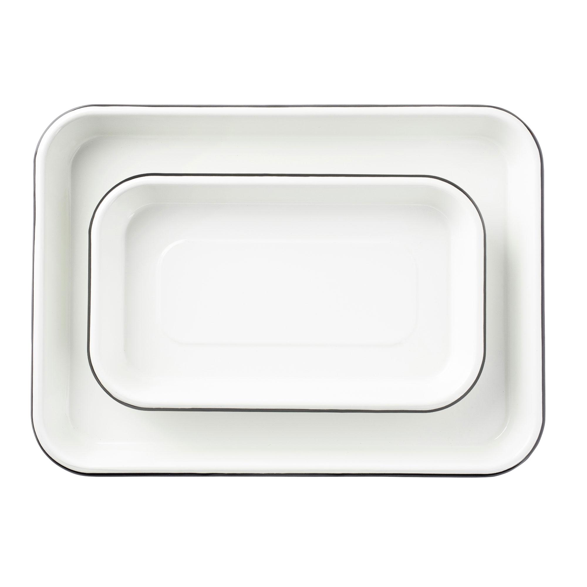 enamelware sheet pan servers from TableCraft