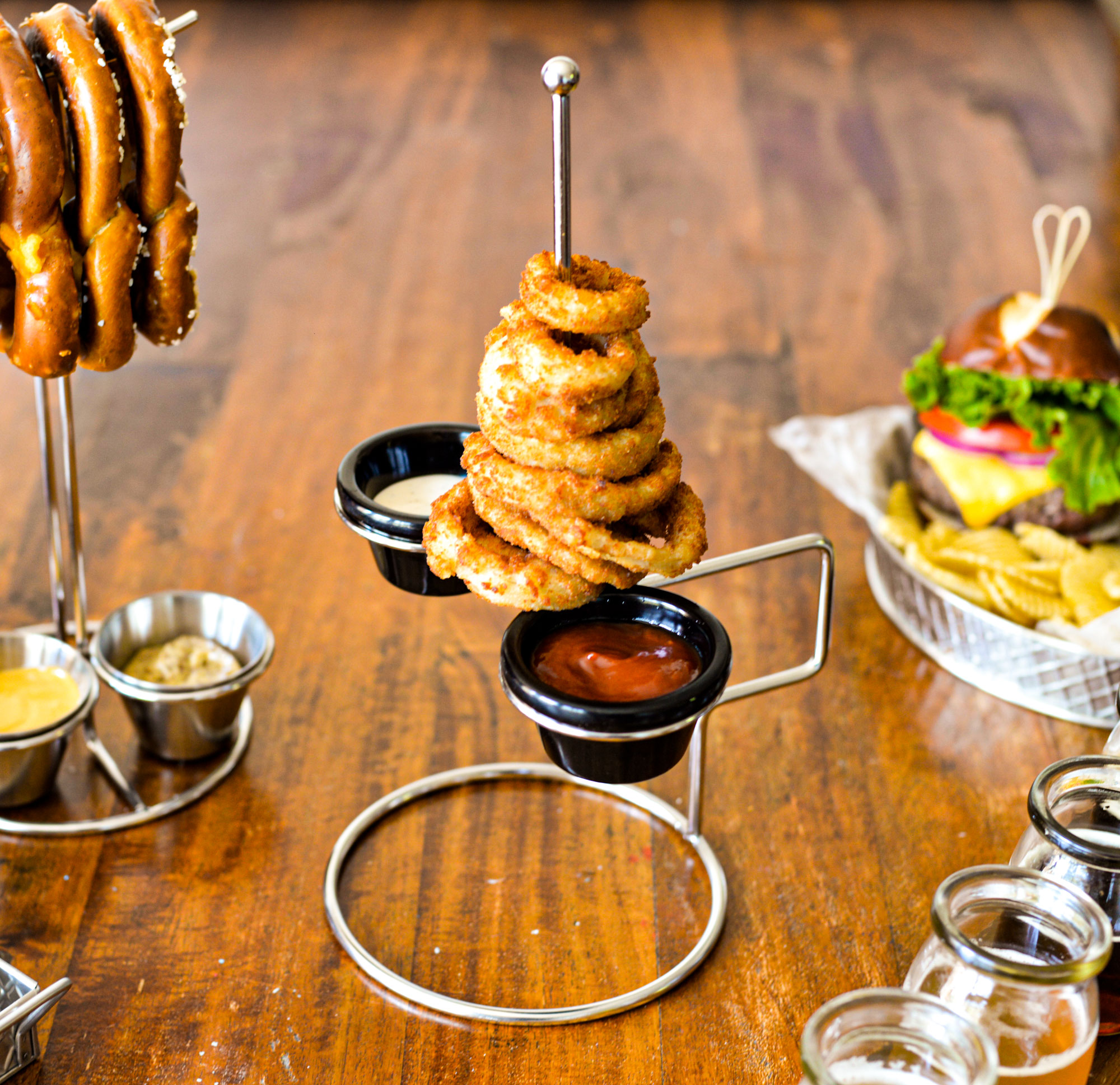 stacked serving onion ring holder with ramekin holder