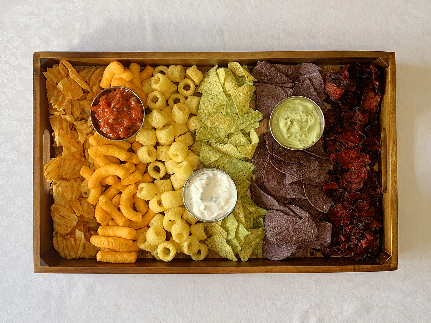 range of crisps chips with dips rainbow colors