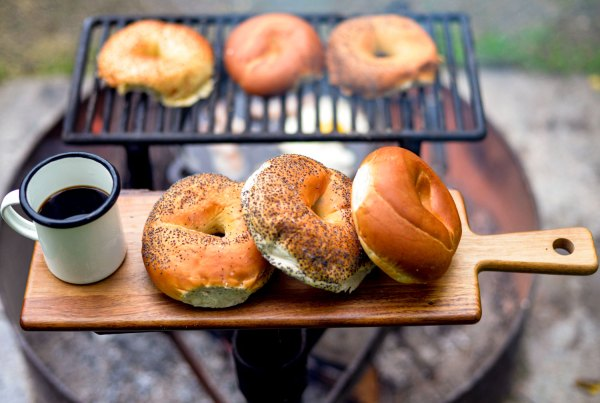 Bagel by the campfire