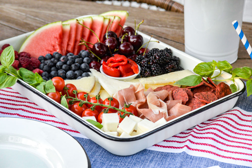 charcuterie tray with Enamelware Tray from TableCraft
