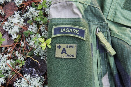 PVC JÄGARE Pacth mounted on Field Shirt M90, also seen is Bloodtype Patch!