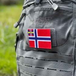The Norway - Sweden union flag as a patch with hook backing