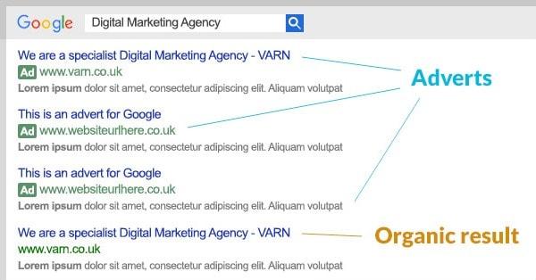 Differenza fra pubblicità e risultati organici