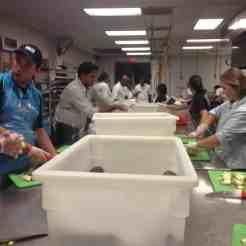 Tait at Houston Food Bank - Hard at work preparing meals