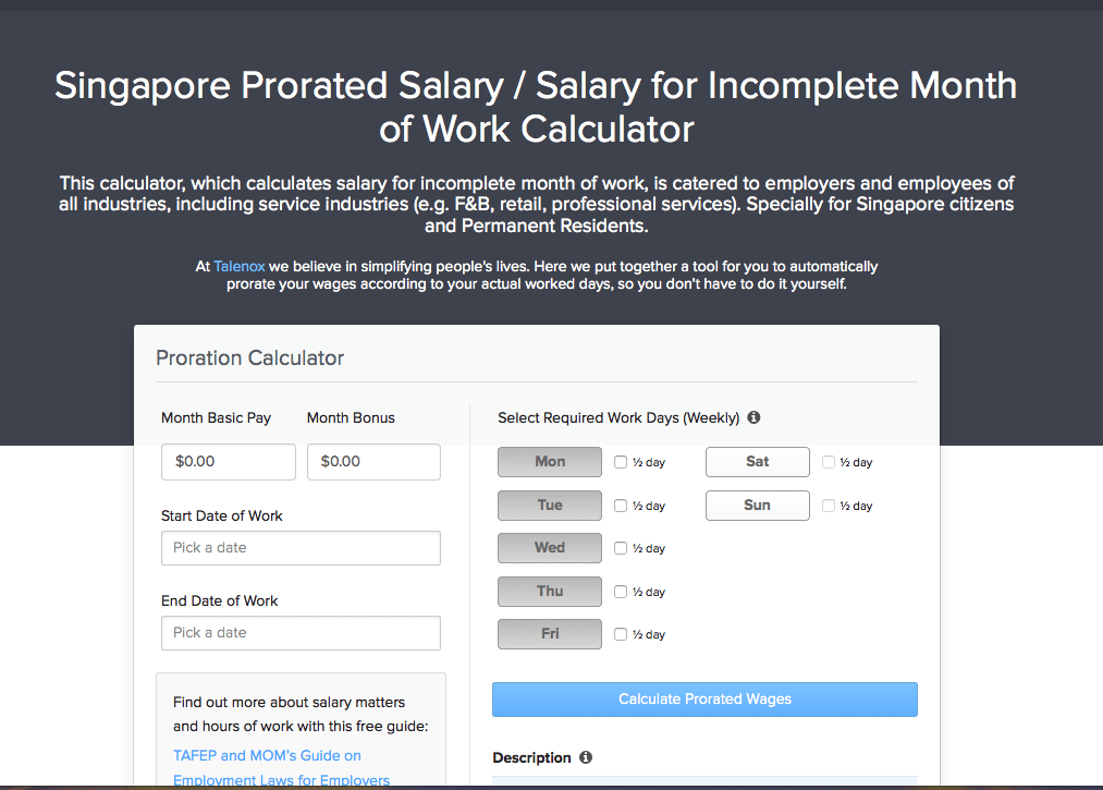 free new tool  singapore prorated salary calculator