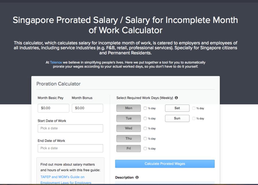 Salary Proration Calculator
