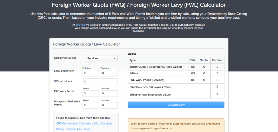 [Free Tool] Singapore Foreign Worker Levy Calculator