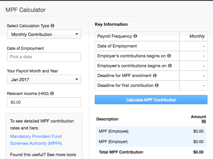 [Free New Tool] Hong Kong's First Contribution and Monthly Contribution MPF Calculator