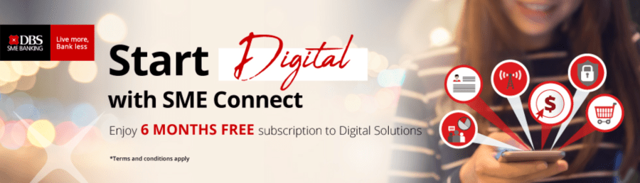 DBS Start Digital banner promoting 6 months free on any subscription to digital solutions