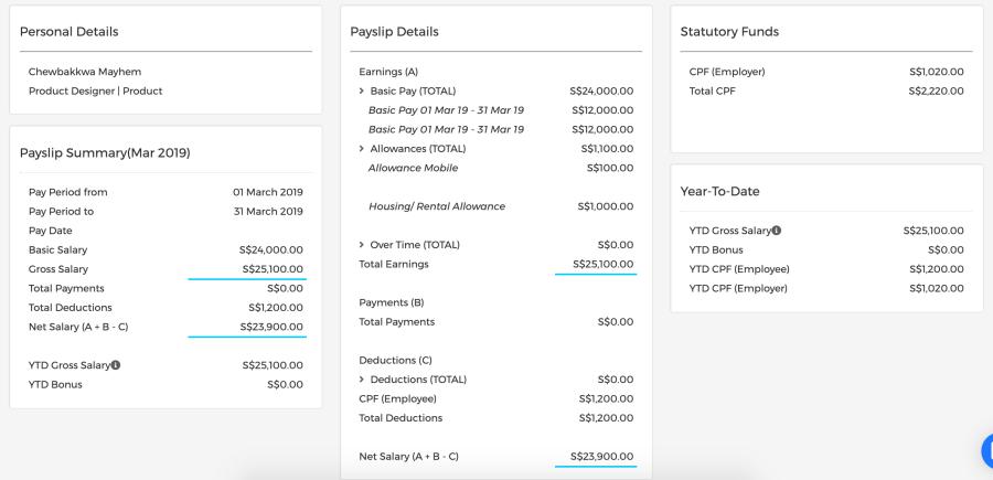 Detailed breakdown of an employee's payslip