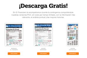 Periódico El Financiero ofrece version impresa gratis - crisis COVID19