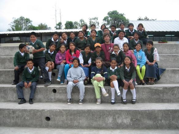 Aaron with school kids from the community of Quichinche who he worked with on a gardening project
