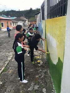 travail sur la peinture murale