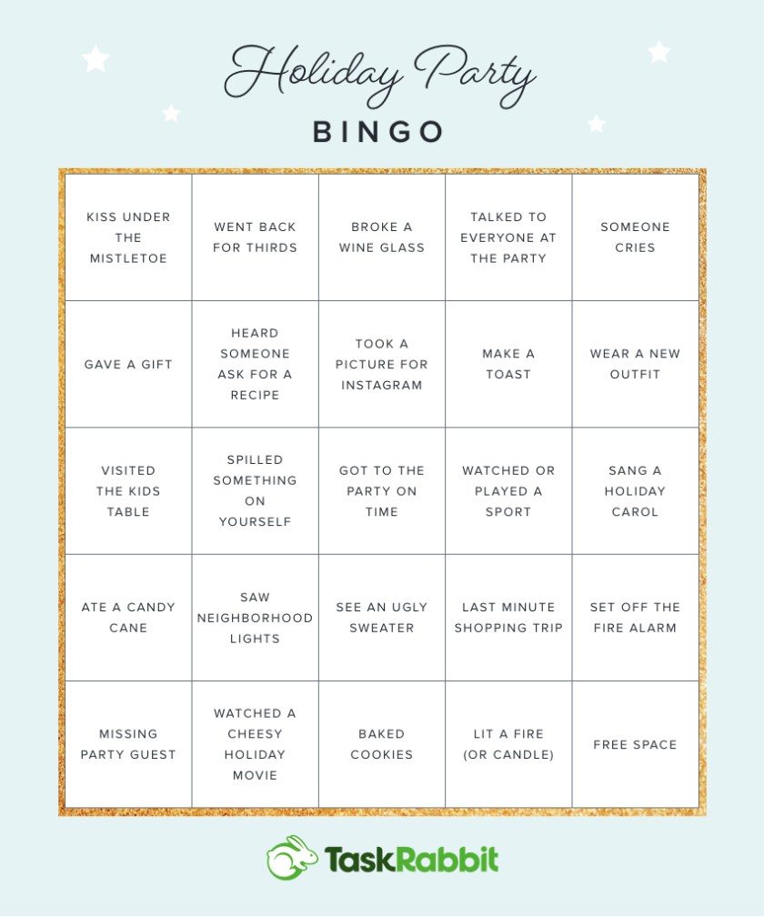 Taskrabbit Christmas Party 2020 Printable Bingo Cards for Your Next Holiday Party | The Hutch