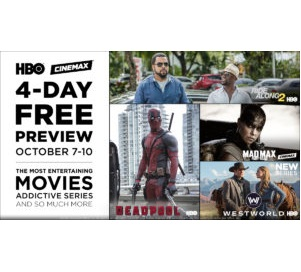 Free preview of HBO and Cinemax this weekend