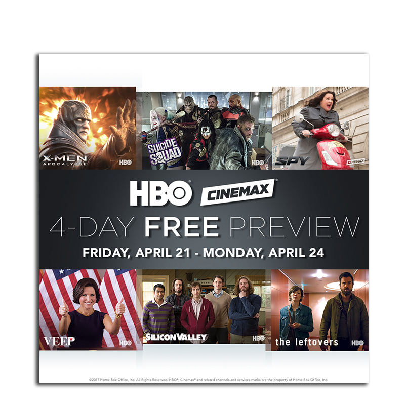 Free HBO and Cinemax preview weekend!