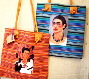 mexico market striped bag with frida kahlo