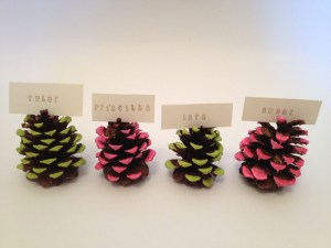 Neon dipped pine cone name cards.