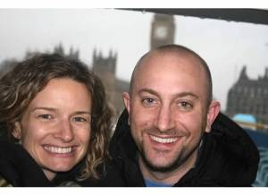 A happy couple in London.