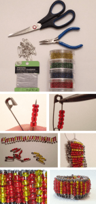 diy safety pin bracelet steps