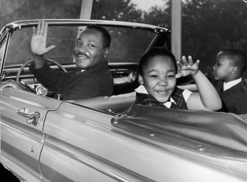 Martin Luther King Jr and his daughter.