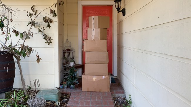 Boxes of clothing