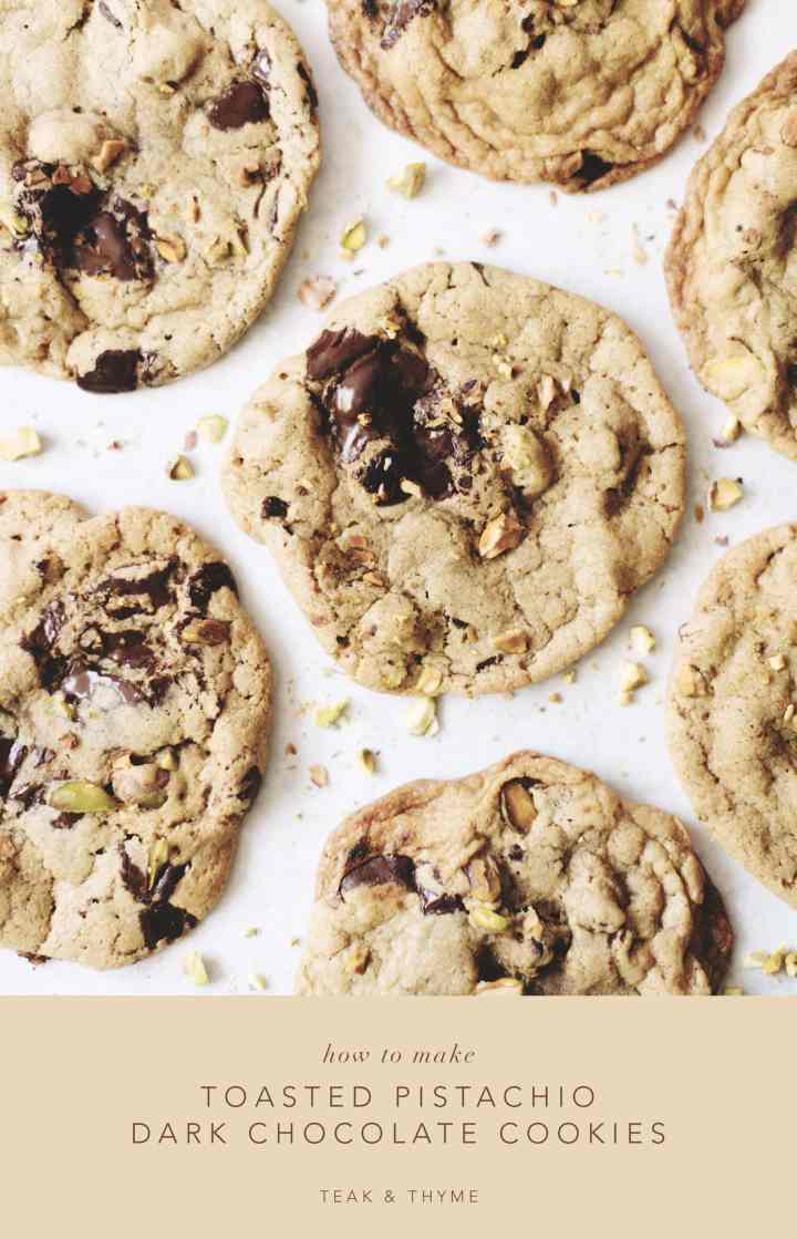 Overhead shot of toasted pistachio dark chocolate cookies in white background
