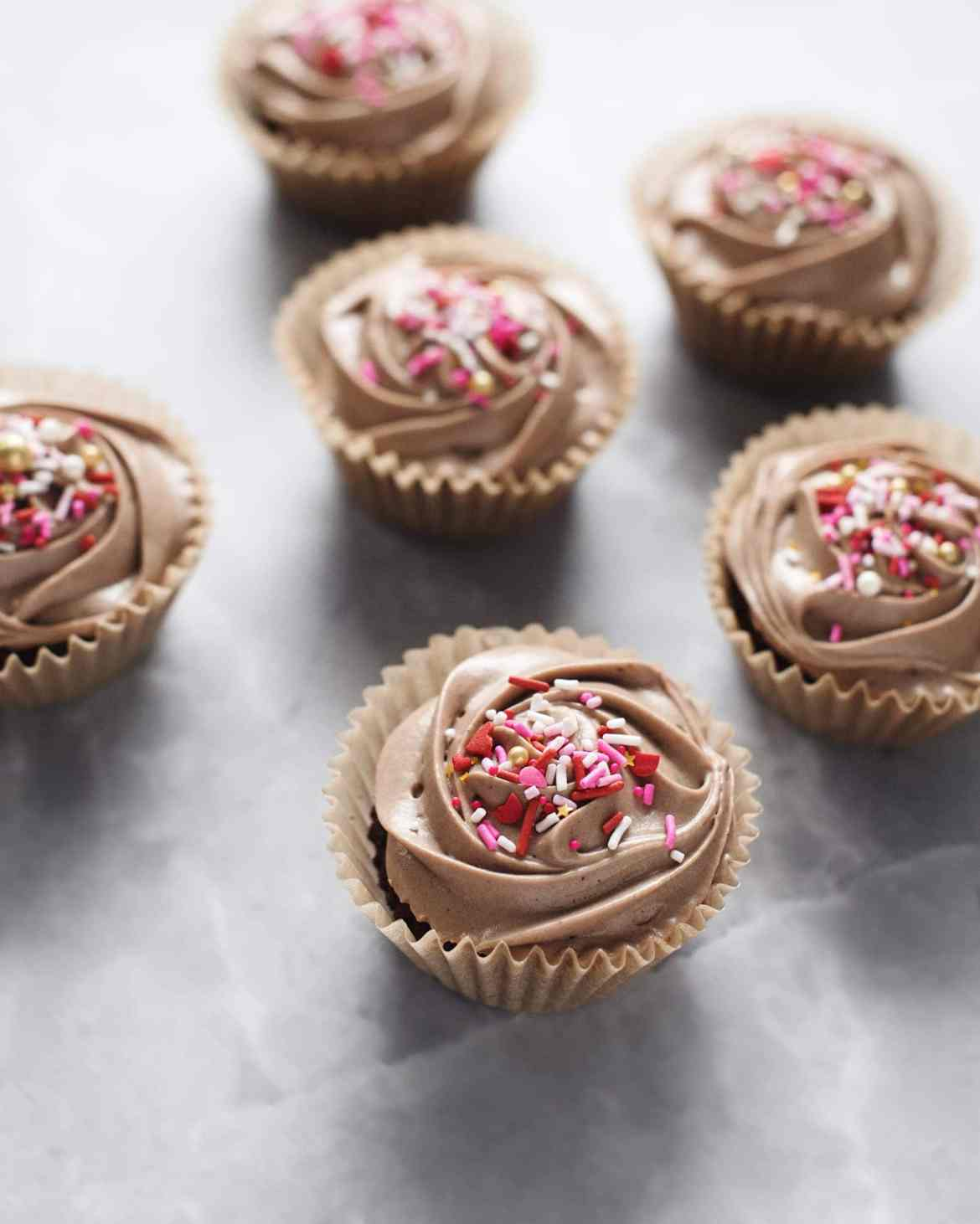 Double chocolate cupcakes with pink sprinkles