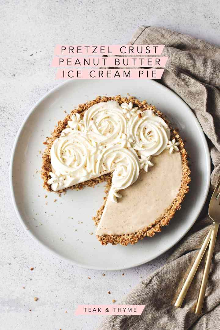 A slice cut out of a peanut butter ice cream pie with text overlay