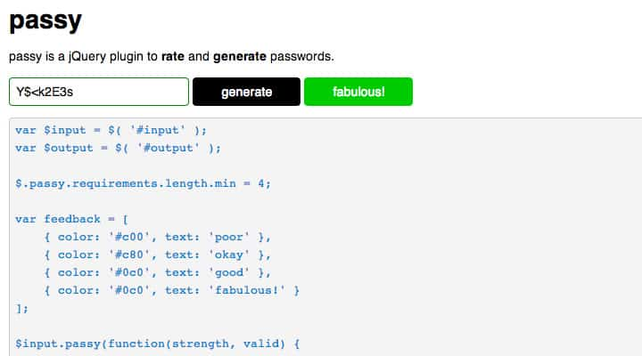 passy password generate strength jquery plugin screenshot