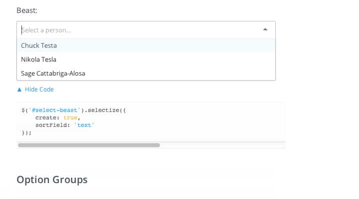 selectizejs jquery select menus custom plugin screenshot