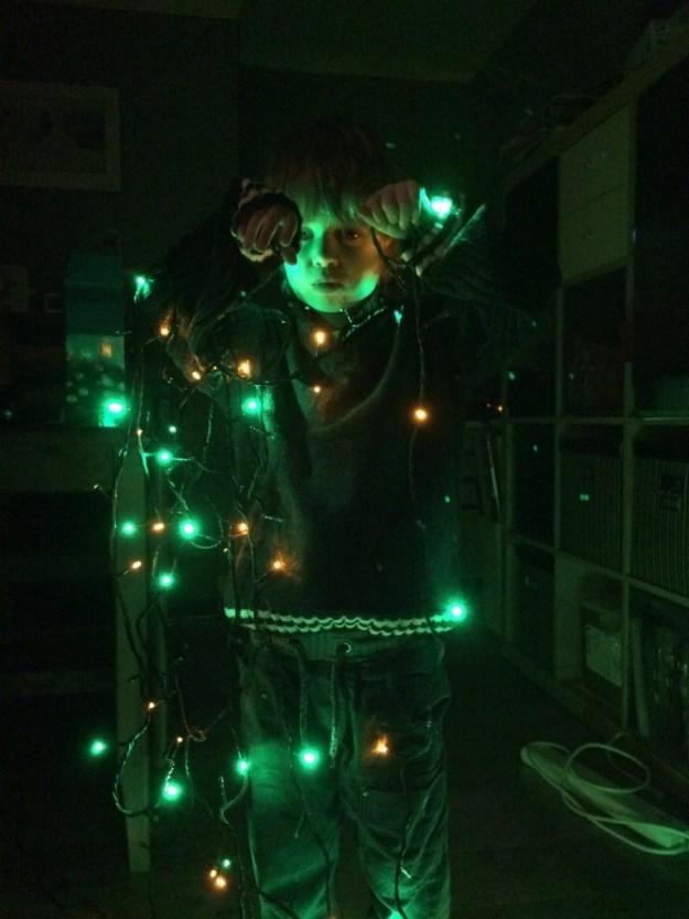 Sam untangles the lights