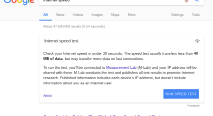 Test your Internet speed directly from Google home page  – Tech