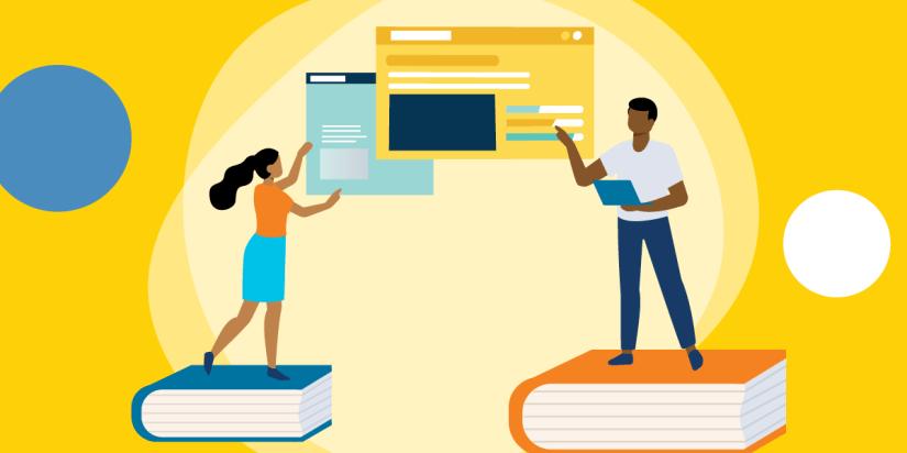desenho de duas pessoas em pé sobre livros e gesticulando para telas de dados de computador