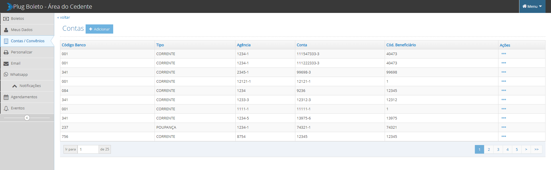 Painel de configuração de contas no Portal do Cedente, um recurso do PlugBoleto.