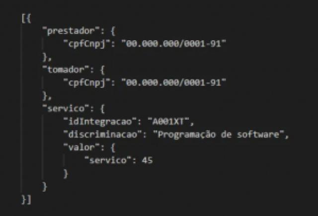 exemplo de uma estrutura JSON na API REST