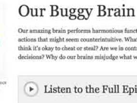 "Listen now! TED Radio Hour's first episode: ""Our Buggy Brain"""
