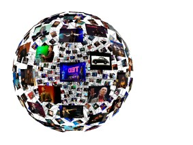 TED Talk data visualized as a flow of words and a sphere of connections