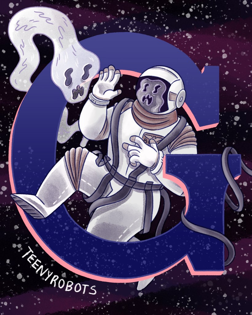 an astronaut and a ghost tangled in the letter G