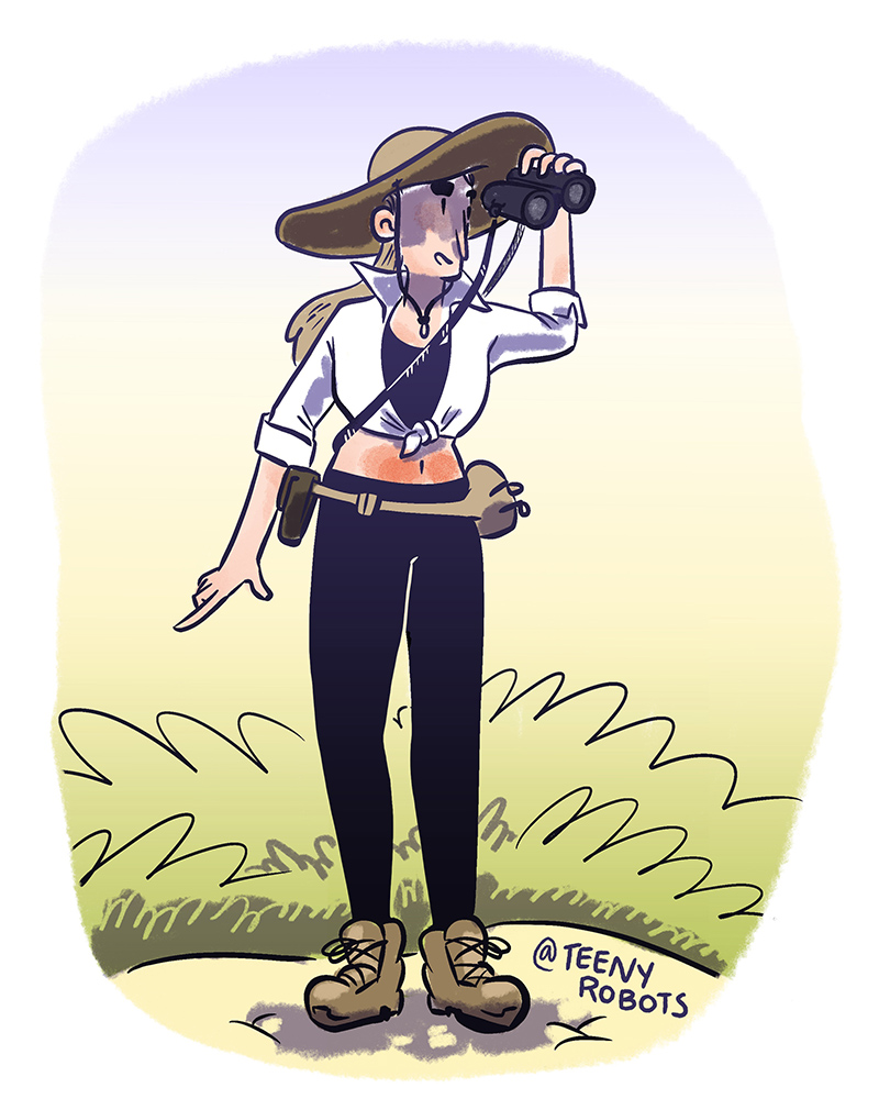 self-portrait birding on a prairie with a sunburn