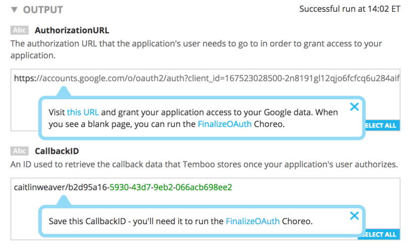 Output returned by the OAuth Initialize Choreo