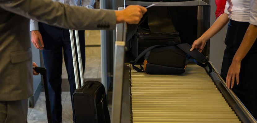 Bags on a conveyor belt at the airport