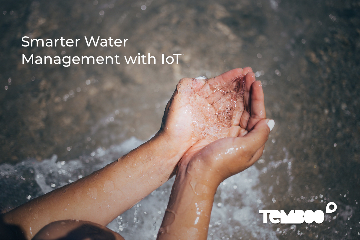 "Hands cupping water. Text on image says ""Smarter Water Management with IoT"""