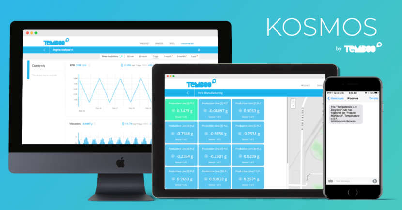 Temperature monitoring system using Kosmos on a computer, tablet, and phone.