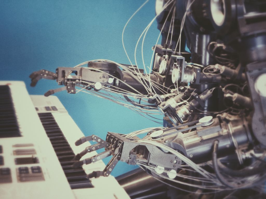 robot playing the piano