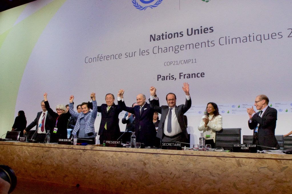 Photo of the adoption of the Paris Climate Accord in December 2015.